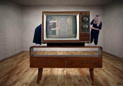 Pigeon Theatre climb into the TV
